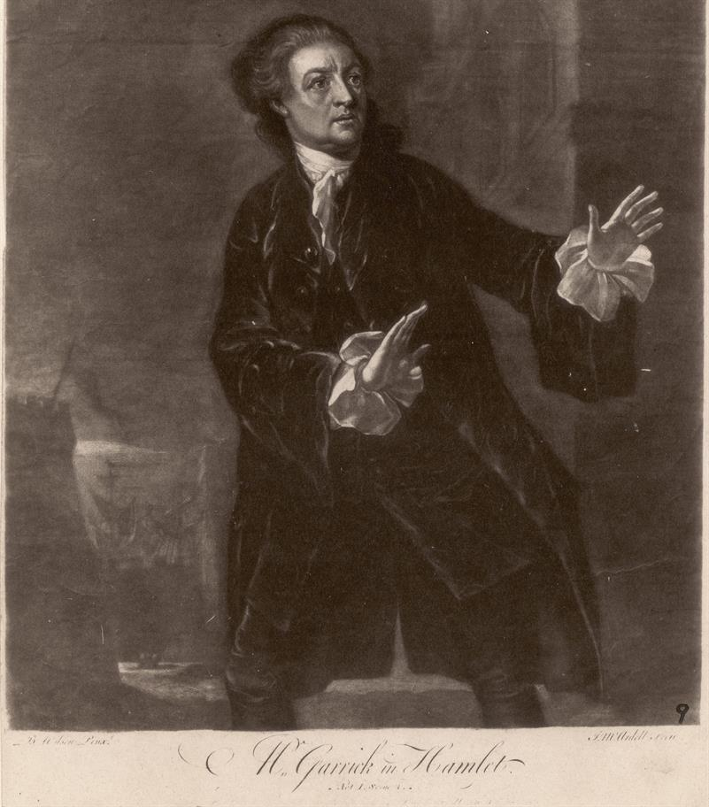 Engraving of David Garrick as Hamlet from 1754, wearing a long black coat with the white frilly sleeves of his shirt protruding