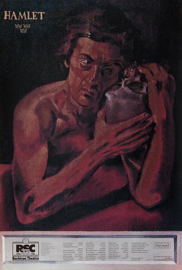 Poster showing a painting of a bare-chested man clutching a skull