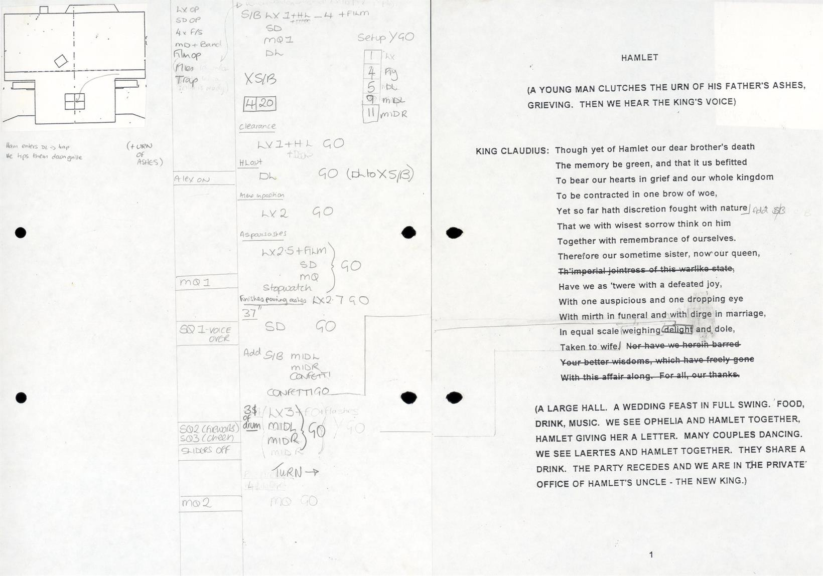 Prompt Book showing cues on the left and text on the right for the opening scene in Hamlet 1997