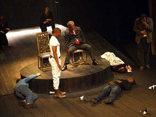 The cast of Hamlet on stage