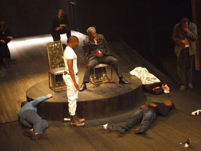 Fortinbras stands amid the corpses of the rest of the cast