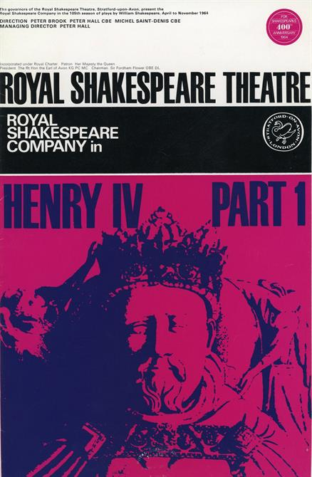 Programme for Henry IV Part 1 1964