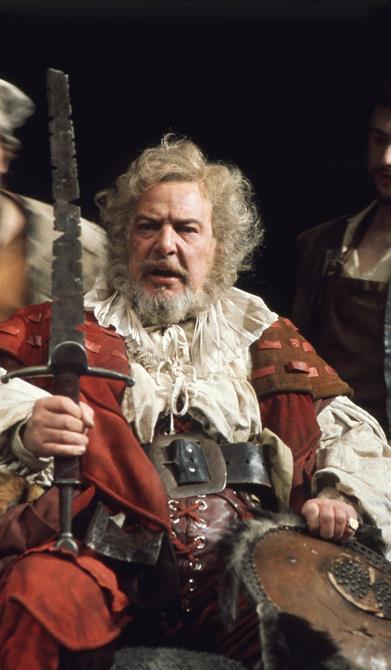Falstaff (Brewster Mason) displays his hacked sword in Henry IV Part 1 1975