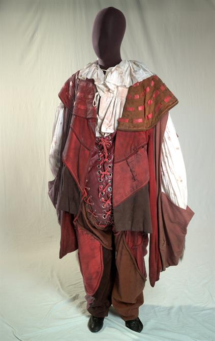 Red suede costume designed by Farrah and worn by Falstaff (Brewster Mason) in Henry IV Part 1 1975