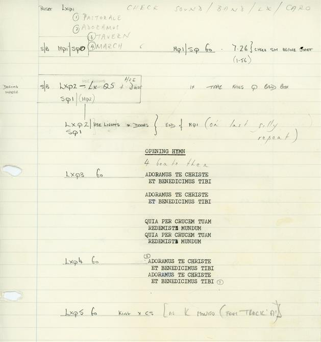 Prompt book opening cues for Henry IV Part 1 1982 at the Barbican Theatre