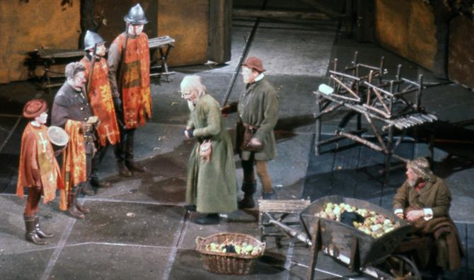 Justice Shallow (Roy Dotrice) hears that Falstaff is approaching in Henry IV Part II 1964
