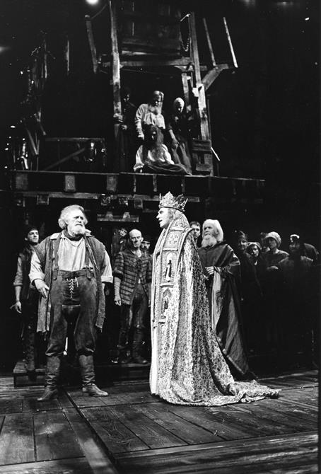 Falstaff (Joss Ackland) is upbraided by the newly crowned Henry V (Gerard Murphy) in Henry IV Part II 1982