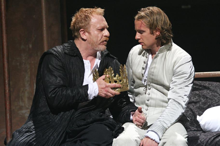 Henry IV (Clive Wood) confides in his son Prince Hal (Geoffrey Streatfeild) in Henry IV Part II 2007
