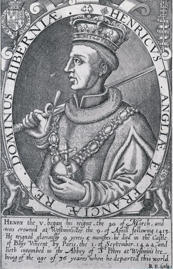 Black and white engraving of Henry V wearing royal regalia and holding sword and sceptre