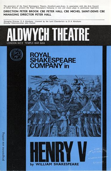 Blue and black programme for Henry V at the Aldwych Theatre in 1965