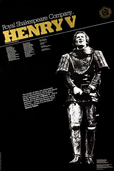 Theatrical poster featuring Alan Howard as Henry V in armour, 1975