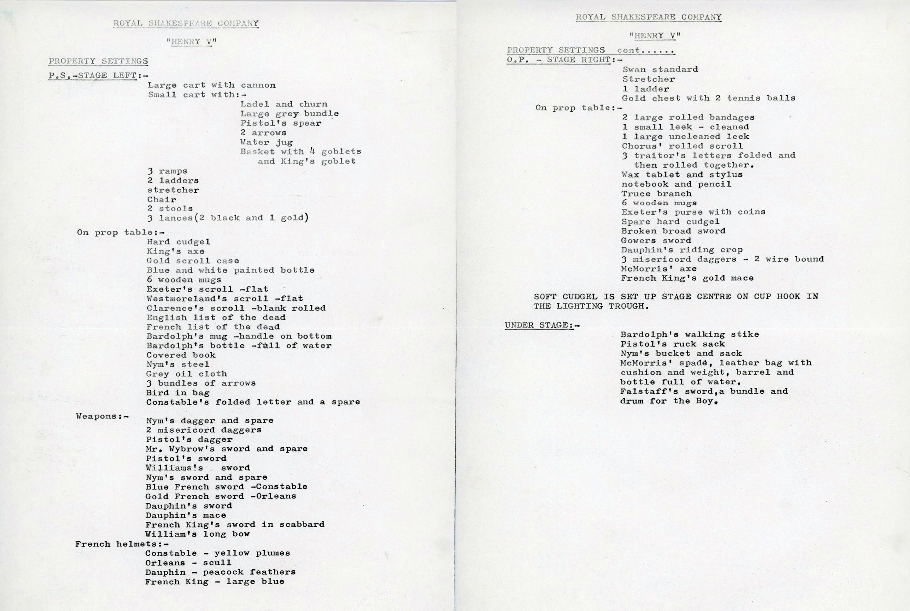 Typewritten list of props for Henry V 1975