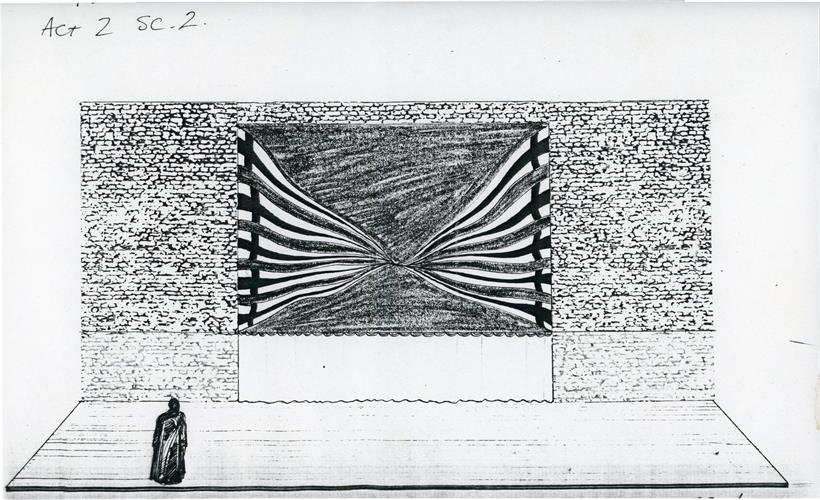 Designer's storyboard black and white sketch of set for Henry V 1984 showing single figure and walls of Harfleur in background