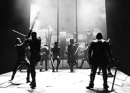 Sword fighting on stage