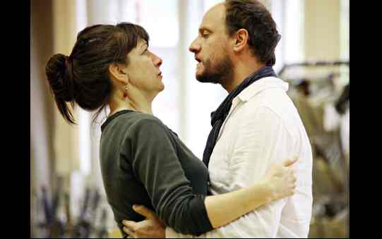 Maureen Beatty and Nick Asbury rehearse saying goodbye before Pistol leaves for war.