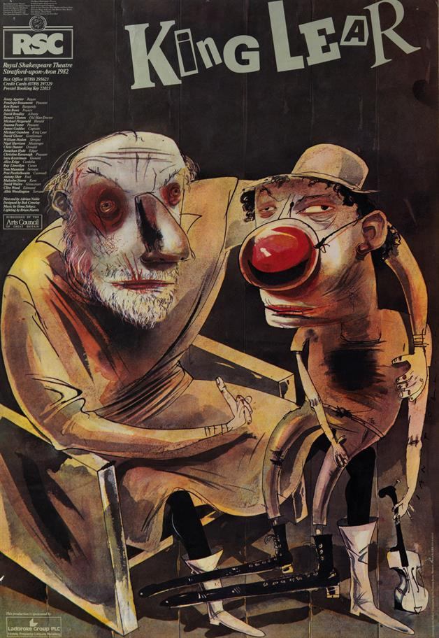 Poster for King Lear, 1982, showing a caricatured seated Lear and standing Fool with a red nose and carrying a violin