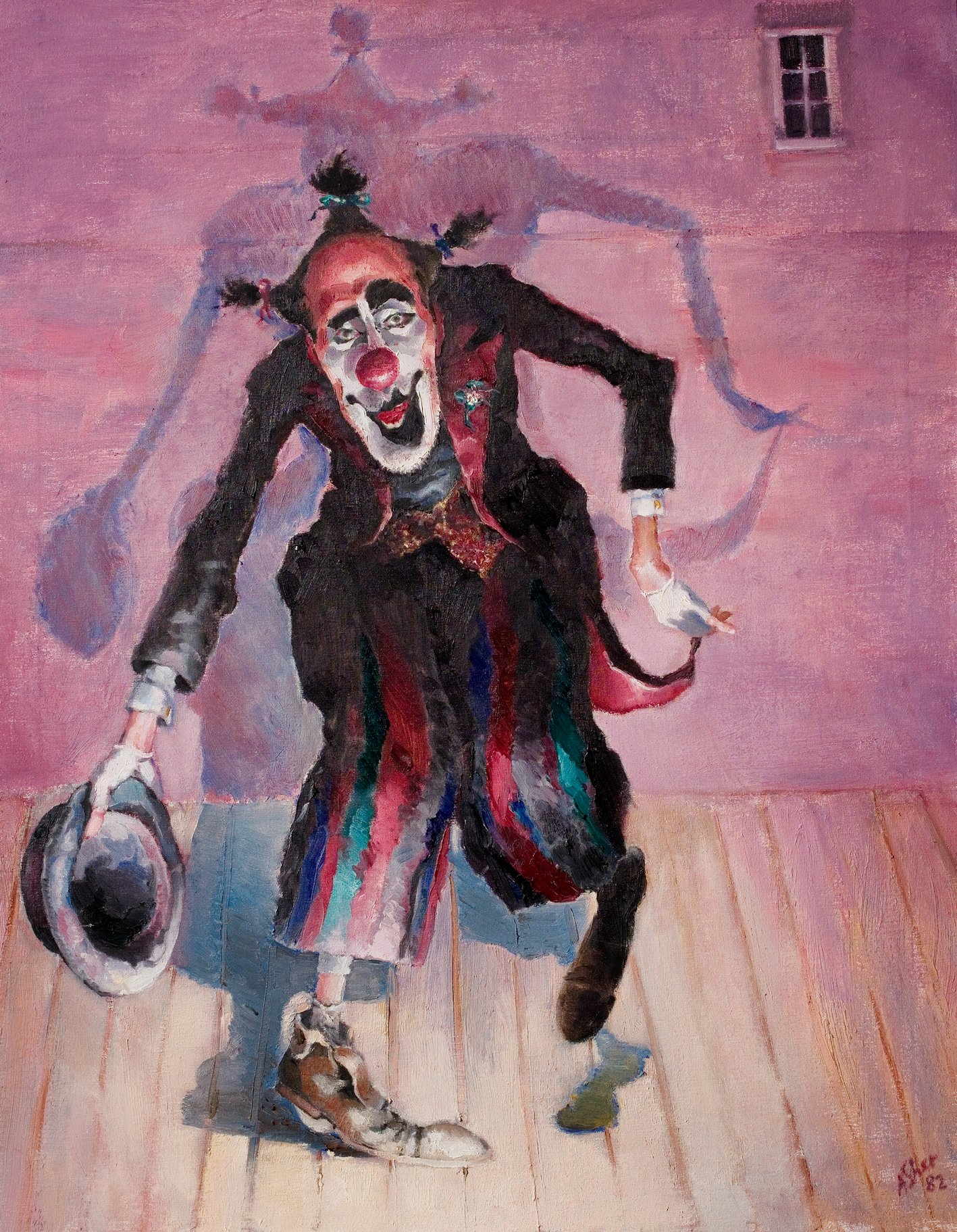 Self portrait oil painting by Antony Sher as the Fool in King Lear, 1982, posed like a clown taking a bow on stage