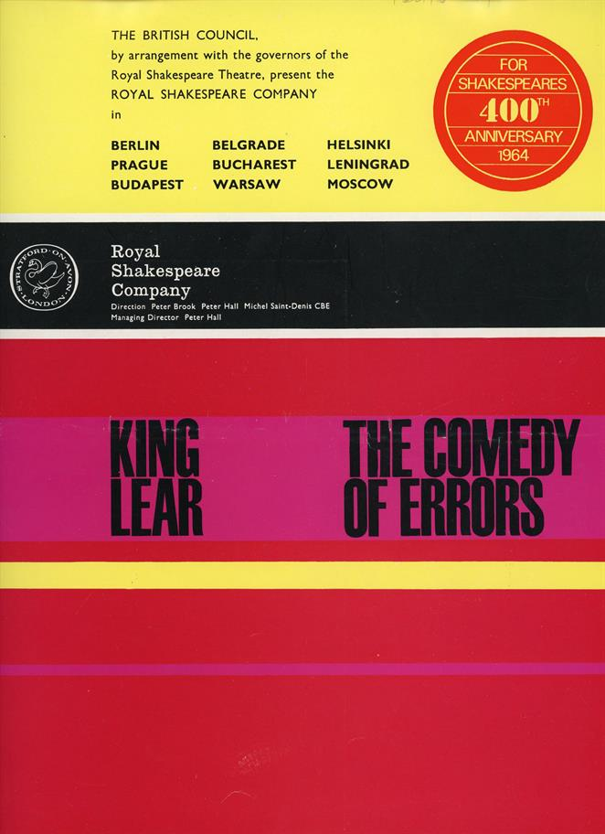The tour programme for King Lear and The Comedy of Errors, in bright yellows and pinks.