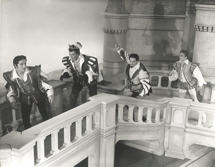 Berowne, Ferdinand, Longaville and Dumaine reject their vow to avoid the ladies in Love's Labour's Lost