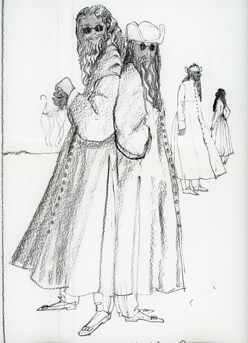 Love's Labour's Lost 1993 costume designs for Longaville and Berowne disguised as Russians by Deirdre Clancy