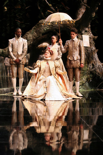 The Princess (Mariah Gale) arrives at the court of Navarre in Love's Labour's Lost 2008