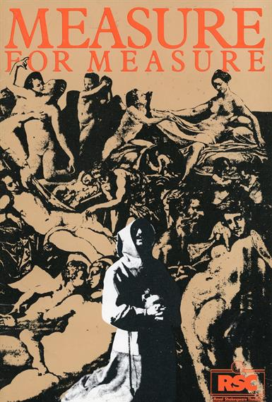 Programme cover for Measure for Measure 1978 showing a praying monk in front of figures in an orgy