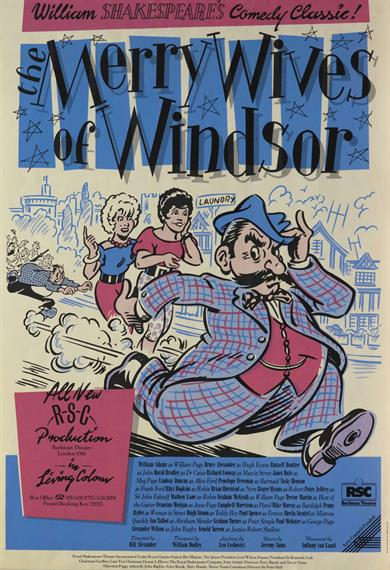 Theatrical poster in 1950s cartoon style showing check-suited fat moustached man running away from a blond and dark women and an urban crowd in pursuit