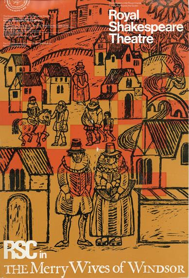 Programme cover for The Merry Wives of Windsor, 1968, featuring a naive woodcut with a castle, Elizabethan houses and townsfolk