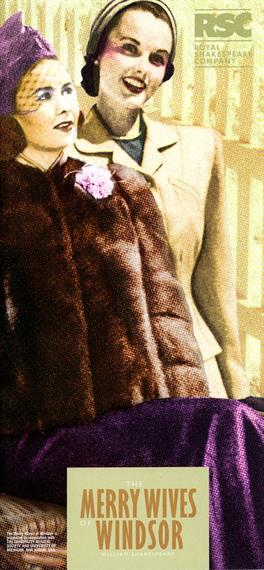 Theatrical programme for The Merry Wives of Windsor, 2002, featuring fashion drawings of two 1940s women, on in fur coat and one in pale coat and matching hat
