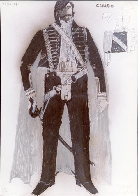 Costume design for the character of Claudio, showing him in military jacket with a sword and spurred boots