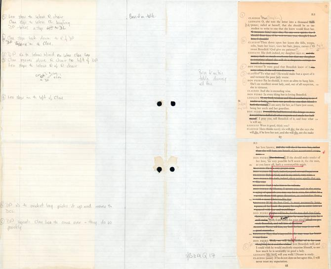 An example of a prompt book page with lines crossed out and annotations over the writing