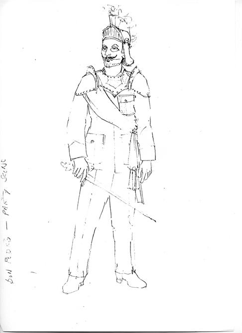 Sketch of Don Pedro's military costume