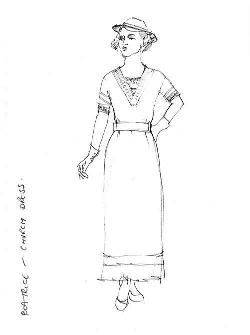 A simple sketch for Beatrice's wedding costume