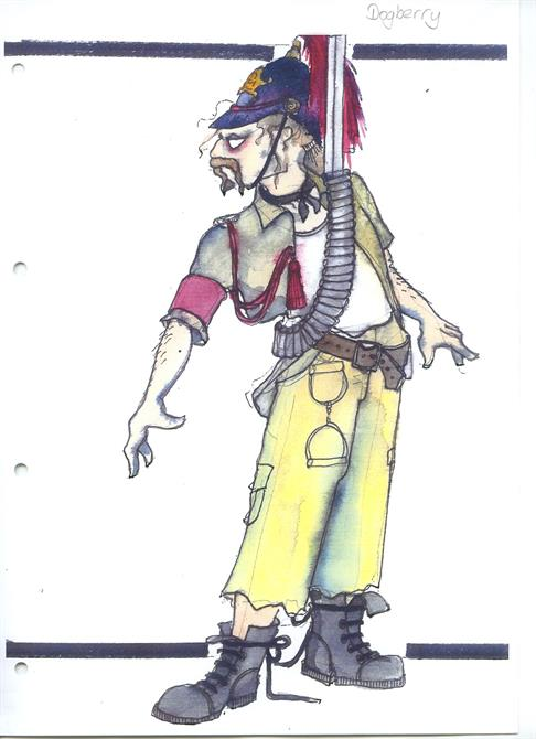 Costume design for Dogberry, including ragged trousers, a gun belt and a soldier's helmet