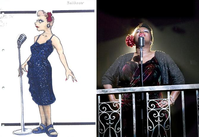 A sketch of Yvette Duncan-Rochester's costume, next to a photo of her wearing it on stage