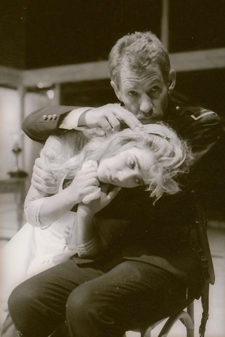 Iago (Ian McKellen) comforts Desdemona (Imogen Stubbs) in Othello 1989