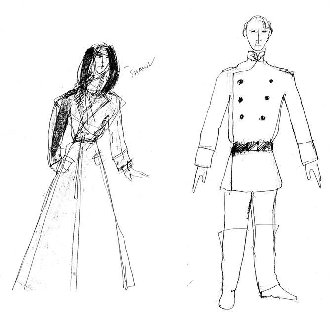 Bob Crowley's costume designs for Desdemona (Imogen Stubbs) and Othello (Willard White) in Othello 1989