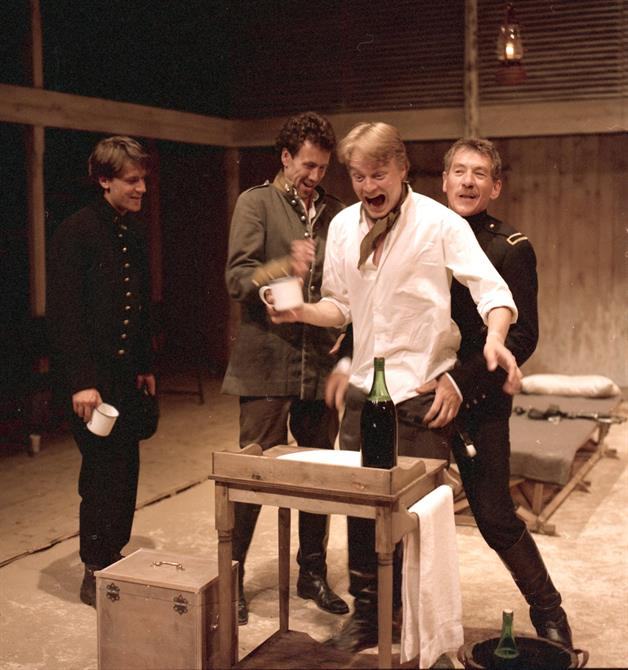 Iago (Ian McKellen) orchestrates a drinking party in Othello 1989