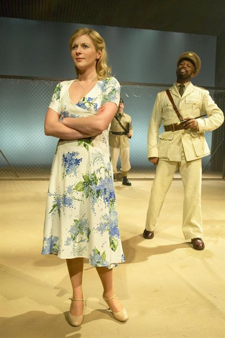 Desdemona (Lisa Dillon)  and Othello (Sello Maake ka-Ncube) arrive in Cyprus in Othello 2004