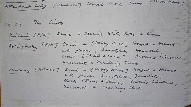 Costume list from John Barton's 1973 production of Richard II