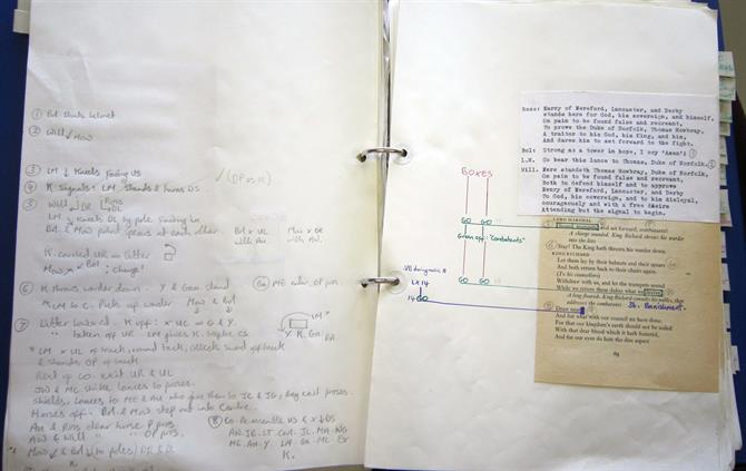 Prompt book for John Barton's  Richard II at the Aldwych 1974-75