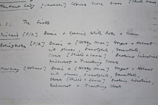 Costume list from John Barton's 1973 production of Richard II