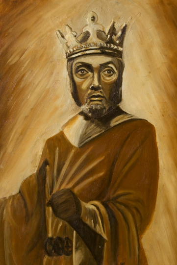 Painting by Lynne Johnson of Richard Pasco as Richard II 1973