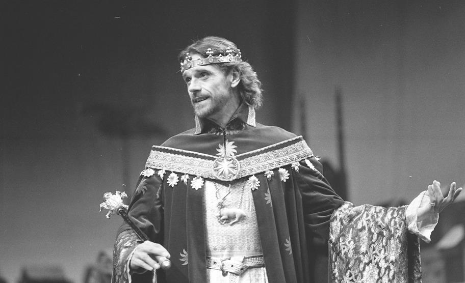 Jeremy Irons at Richard II at the Barbican Theatre, 1987, directed by Barry Kyle