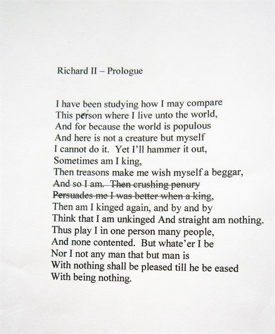 Edited extract from Act 5, Scene 5 of  Richard II: 'Then crushing penury; Persuades me I was better when a king'