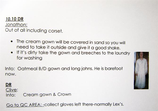 Instructions in the dresser's notes for Jonathan Slinger's costume, post sand shower in Act 5, Scene 1