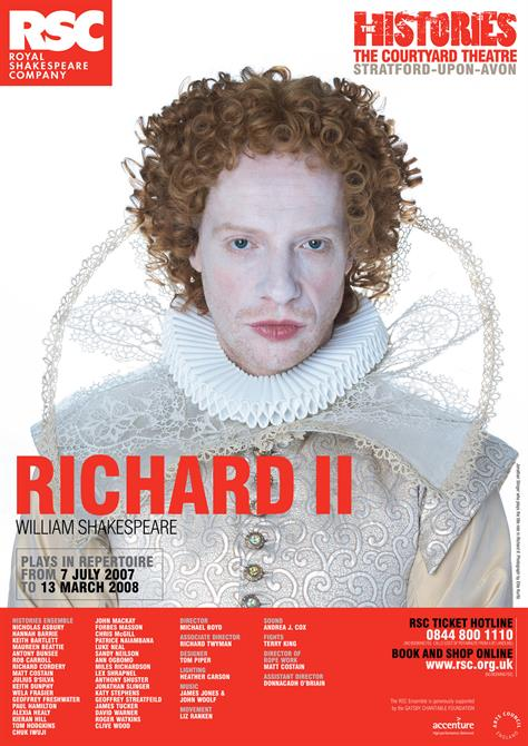 Richard II poster from 2007, with Jonathan Slinger on the front in white costume and make up