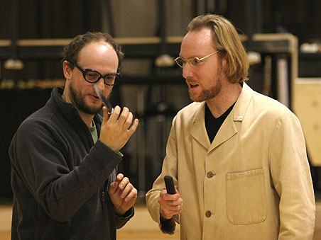Two men from the RIchard III rehearse