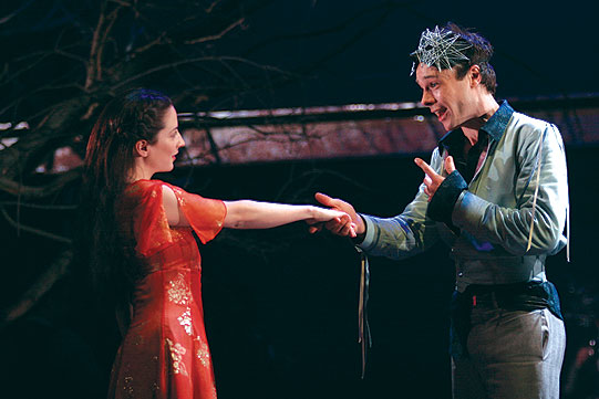 Romeo (Rupert Evans) and Juliet (Morven Christie) meet at the masked ball.
