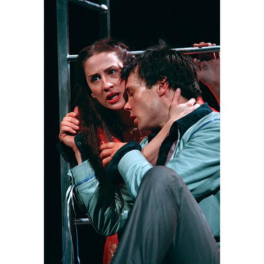 Romeo (Rupert Evans) leaves Juliet (Morven Christie) at her window.